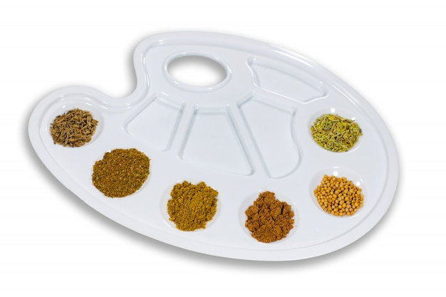 Palette of taste with spices. Premium Photo