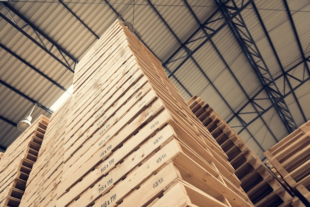Pallets wood sort by is high in the industry Premium Photo