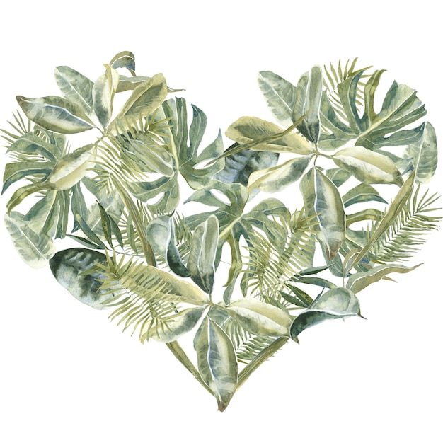 Palm leaves heart shape. dust greenery, tropical leaves frame. exotic floral wreath. flowers border Premium Photo