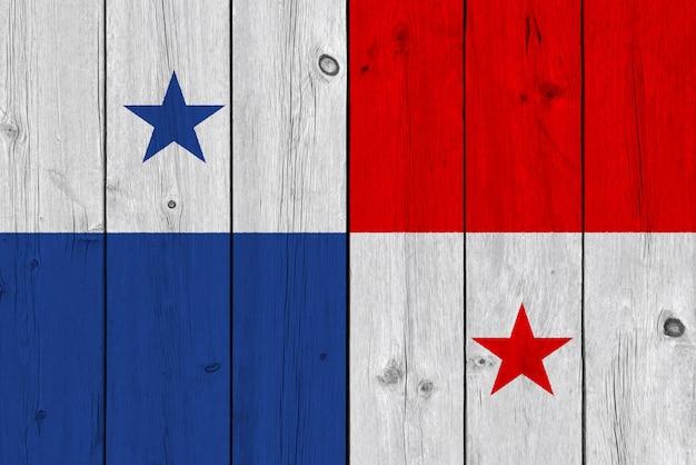 古い木の板に描かれたパナマの国旗 Premium写真