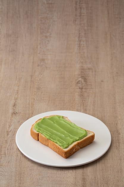 Pandan custard bread thai dessert  sweet Premium Photo