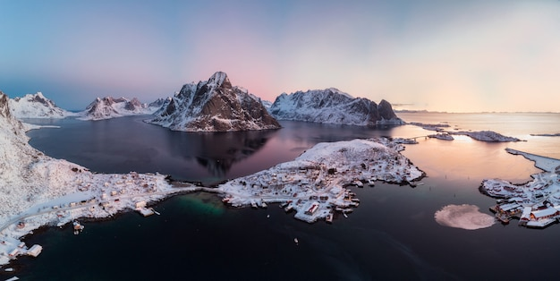 Panorama aerial view of scandinavian archipelago with mountain range on arctic ocean Premium Photo