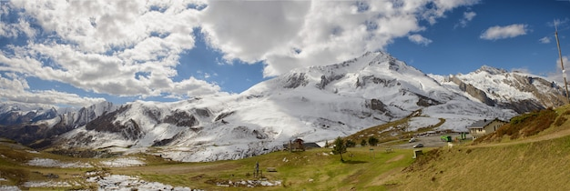 Panorama of the french pyrenees mountains, col du soulor Premium Photo