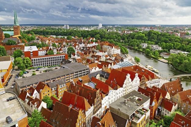 Panorama of german city of lubeck Premium Photo