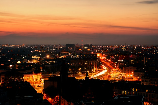 Panorama of the illuminated old part of wroclaw at night. Premium Photo