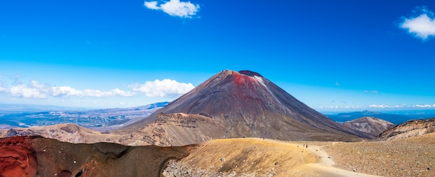Panorama landscape view of a beautiful of tongariro crossing track on a beautiful day with blue sky, north island, new zealand. Premium Photo