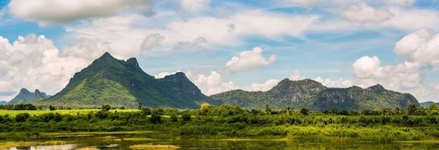 Panorama of mountain landscape, view nature in sunshine at thailand Premium Photo