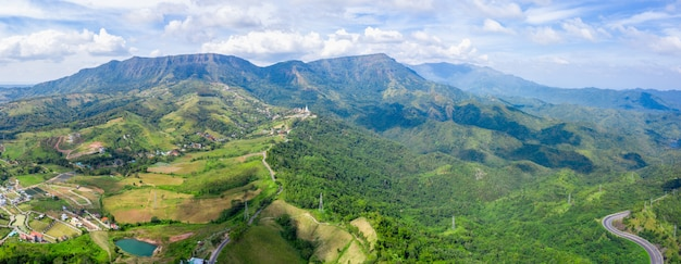 Panorama mountain peak thailand and landmark phetchabun Premium Photo