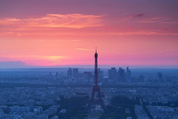 Panorama of paris at sunset Free Photo