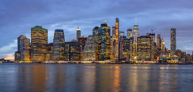 Panorama scene of new york cityscape Premium Photo