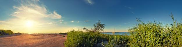 Panorama of seaside by lighthouse in swinoujscie, poland Premium Photo