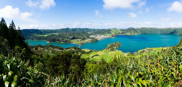 Panorama of sete cidades from the hill Premium Photo