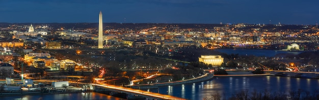 Panorama top view scene of washington dc down town which can see united states capitol Premium Photo