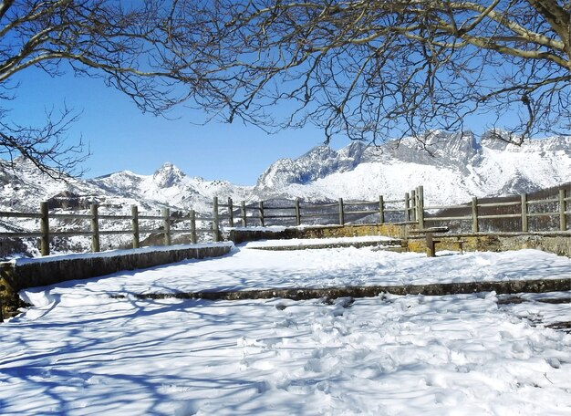 Panorama of vegamian snowy gazebo on a lovely sunny spring
