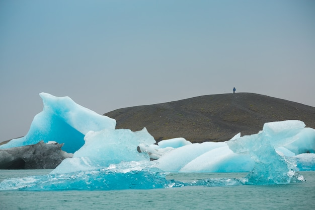 Panorama view of icebergs floating in jokulsarlon lagoon near the southern coast of iceland, travel destinations concept Premium Photo