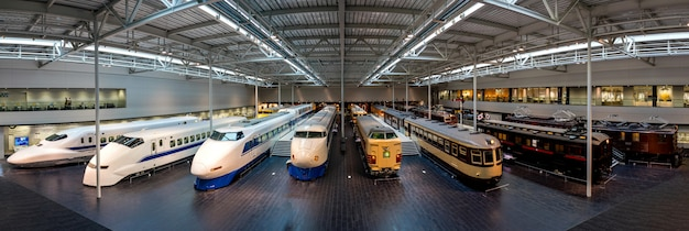 Panorama view in main hall at the scmaglev and railway park. Premium Photo