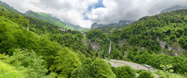 Panorama of the village of gourette in the french pyrenees Premium Photo