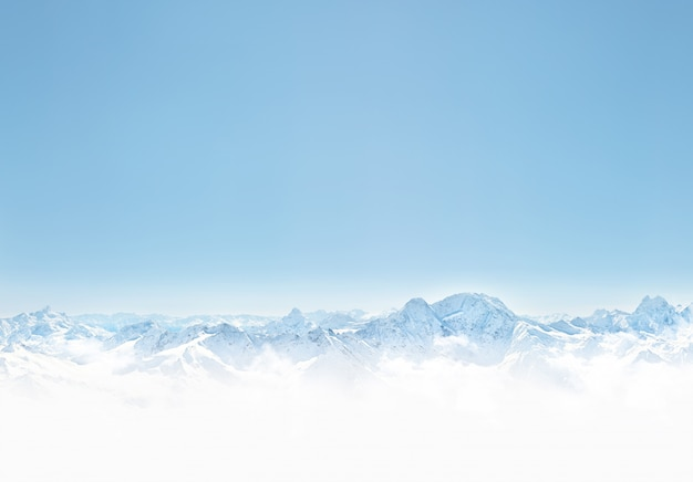 Panorama of winter mountains with snow. copy space background for your design Premium Photo