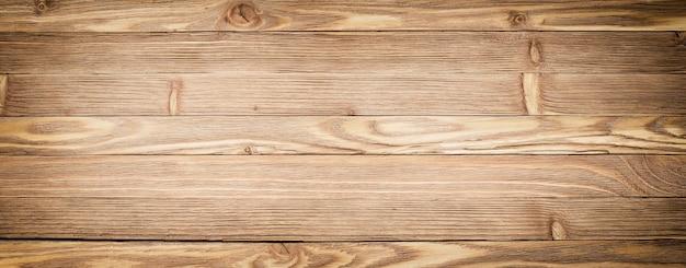 パノラマの木製の背景。明るい木目テクスチャのクローズアップ。板のテーブルまたは床 Premium写真