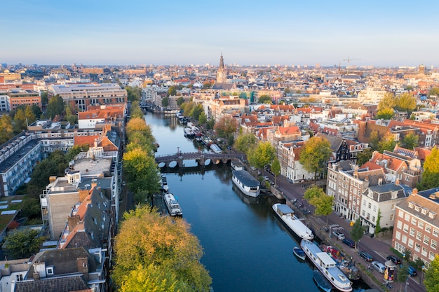 Panoramic aerial view of amsterdam, netherlands. view over historic part of amsterdam Premium Photo