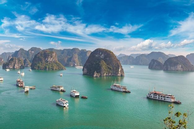 Панорамный вид с воздуха на залив халонг, вьетнам Premium Фотографии