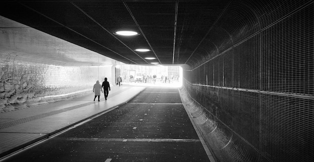 Panoramic angle of tunnel front view. subway metro station amsterdam netherlands Premium Photo