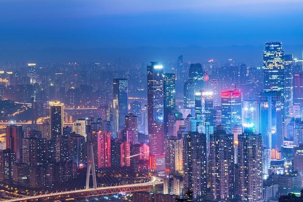 Panoramic city scenery, beautiful night view of chongqing city in china Premium Photo