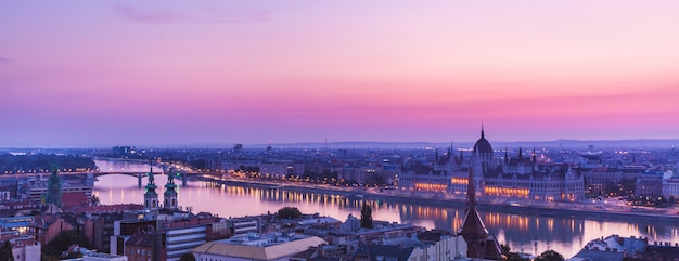 Panoramic cityscape of hungarian parliament building on the danube river Premium Photo