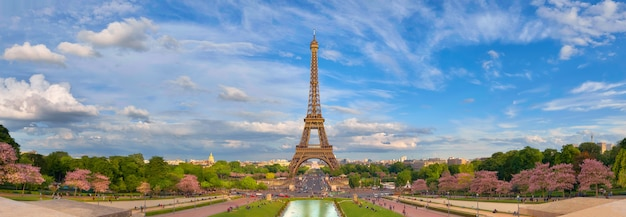 Panoramic image of eiffel tower from trocadero in spring. Premium Photo
