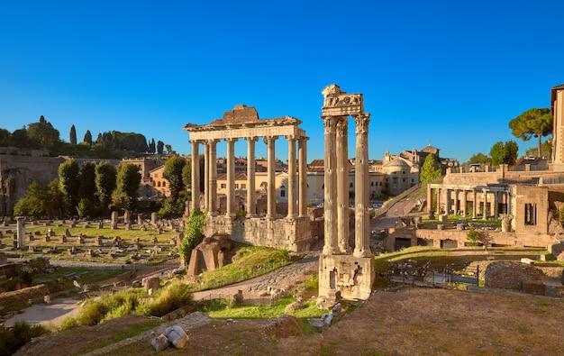 Panoramic image of roman forum, or forum of caesar, in rome Premium Photo