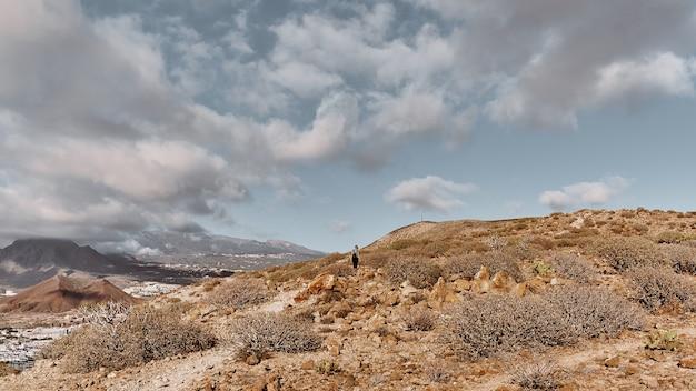 丘の上の女の子とパノラマの風景 Premium写真