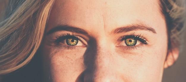 Colpo panoramico del viso di belle femmine con gli occhi verdi che guardano verso Foto Gratuite