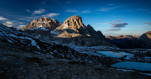 Panoramic shot of the dreischusterspitze mountain in italian alps during the sunset Free Photo
