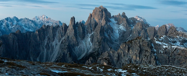 Panoramic shot of the mountain cadini di misurina in the italian alps Free Photo