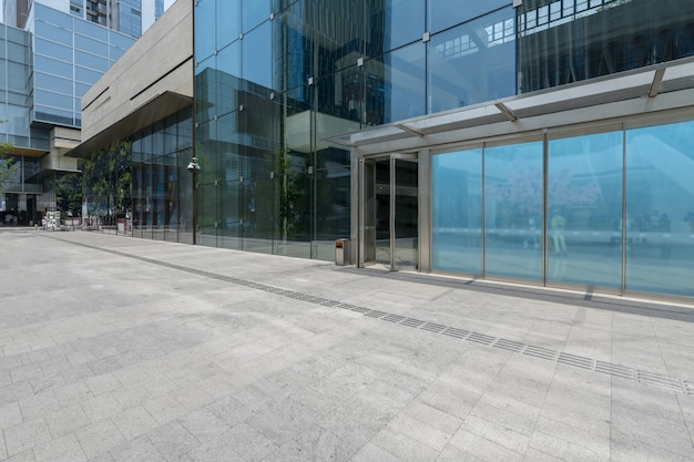 Panoramic skyline and buildings with empty concrete square floor in shenzhen,china Premium Photo