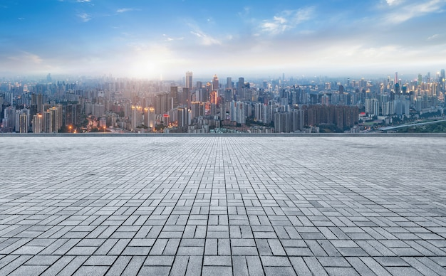Panoramic skyline and buildings with empty concrete square floor Premium Photo