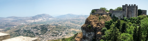 Panoramic view of  ancient fortress of erice town, sicily Premium Photo