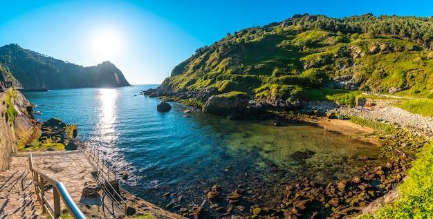 Panoramic view of the beach in the town of pasajes san juan near san sebastian. gipuzkoa, basque country. Premium Photo