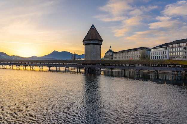 Panoramic view of city center of lucerne with famous chapel bridge and lake lucerne Premium Photo
