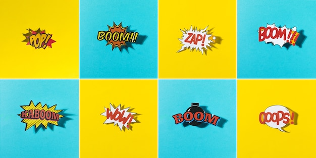 Panoramic view of comic explosion icon on yellow and blue background pattern Free Photo