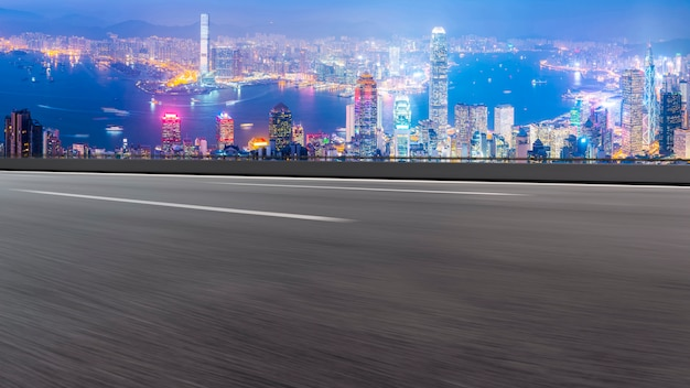 Panoramic view of empty road in city Premium Photo