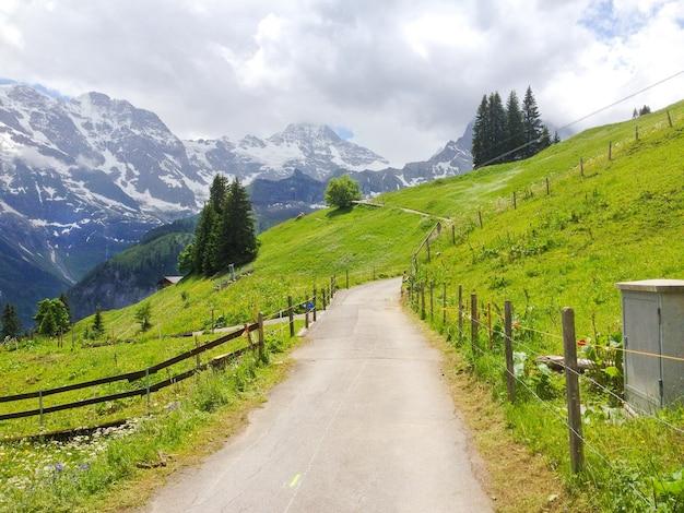 Panoramic view from murren-gimmelwald walking trail, switzerland Premium Photo