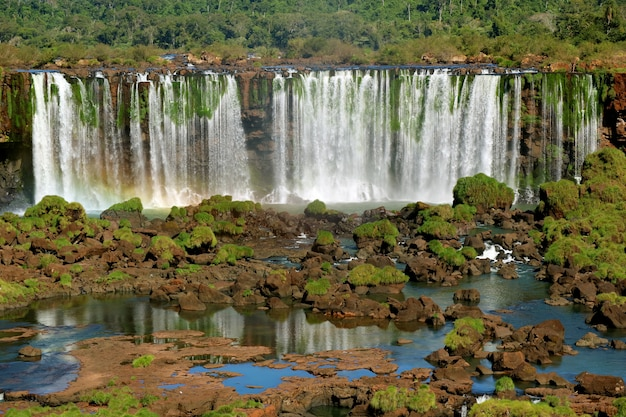 Panoramic view of iguazu falls at the brazilian side, foz do iguacu, brazil, south america Premium Photo