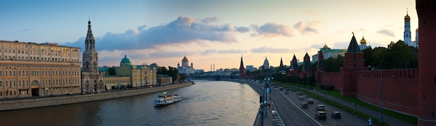 Panoramic view of moscow in sunset Free Photo