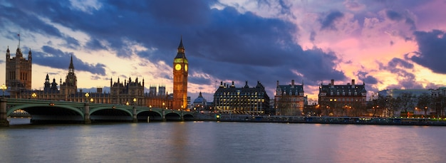 Панорамный вид на лондон на закате, великобритания. Бесплатные Фотографии