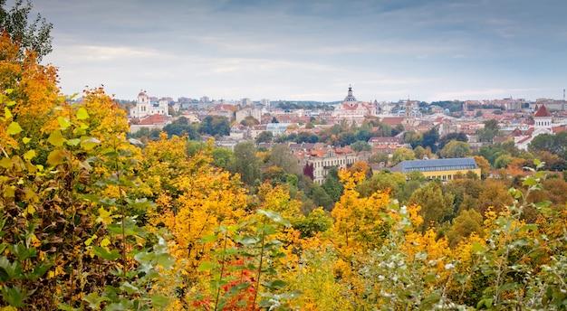 Панорамный вид на вильнюс осенью Premium Фотографии