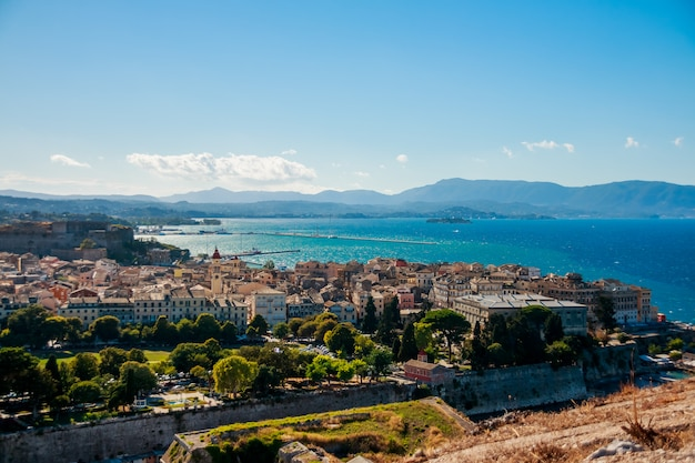Panoramic view on the old town of corfu Premium Photo