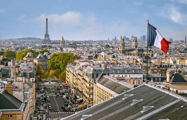 Panoramic view of paris from the top of pantheon in paris, france Premium Photo