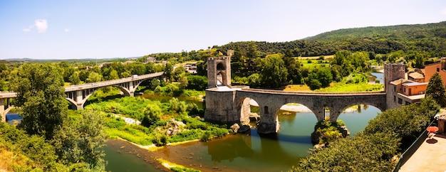 Panoramic view of two bridges in besalu Free Photo