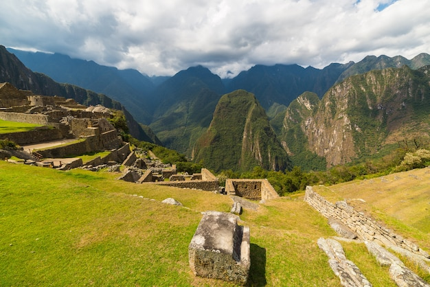 Panoramic view of urubamba valley from machu picchu, peru Premium Photo